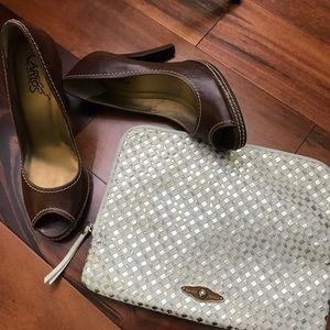 Elliott Lucca Woven Gold Leather Clutch